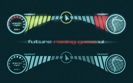racing background: Vector futuristic interface of racing game dashboard