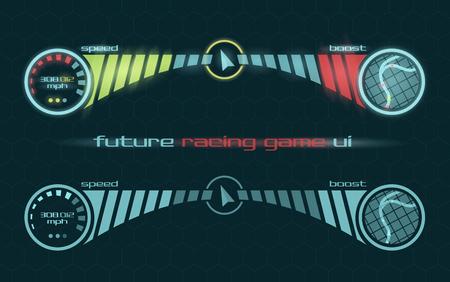 velocimetro: Vector interfaz futurista del salpicadero juego de carreras Vectores