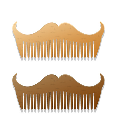 set of men hair styling: Vector hipster style illustration of combs in shape of mustaches, isolated on white background Illustration