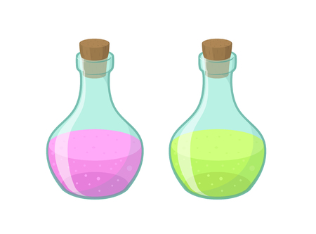 play poison: Vector illustration of two bottles in cartoon style