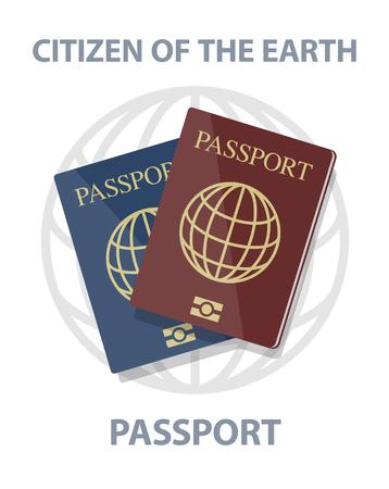 biometric: Vector biometric passports with globe, citizen of earth concept
