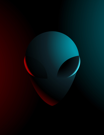 brain mysteries: Vector simple illustration of an alien in dark colors Illustration