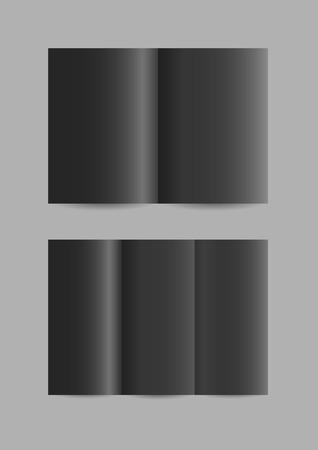 leaflets: Vector simple folded paper leaflets in black color