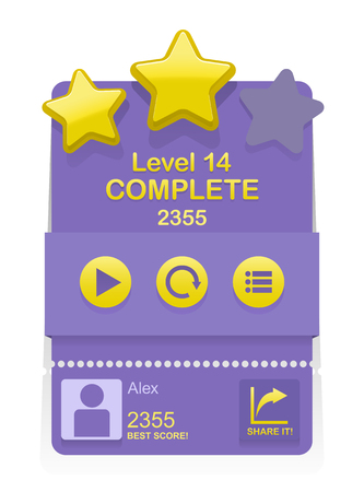 complete: Vector game interface with level complete results
