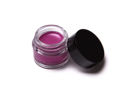 gloss: Pink trendy lip gloss in jar, isolated on white background