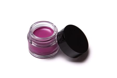 Rosa lip gloss di tendenza in vaso, isolato su sfondo bianco Archivio Fotografico