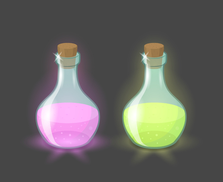 play poison: Vector magic bottles with pink and green drinks, eps10 Illustration