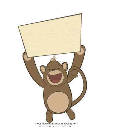 copyspace: Vector monkey holding poster with copy-space, New Year 2016 symbol in Oriental zodiac