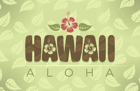 vintage colors: Vector Hawaii word with hibiscus flowers in vintage colors