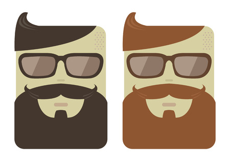 set of men hair styling: Vector cartoon male faces with hipster beards and haircut Illustration