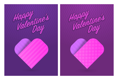 cute cards: Vector illustration of greeting cards with cute hearts for St. Valentines Day, eps10