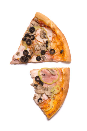 missing bite: Top view of two pizza slices, isolated on white background
