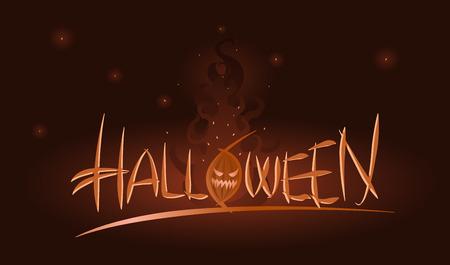 samhain: Vector Halloween illustration of scary pumpkin in flames