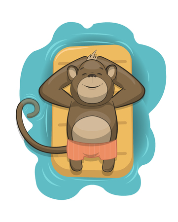 monkeys: Vector monkey relaxing on air mattress in the sea