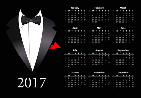 sundays: Vector American calendar 2017 with elegant suit, starting from Sundays