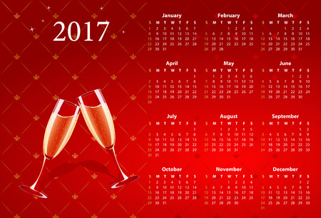 sundays: Vector American calendar 2017 with champagne, starting from Sundays