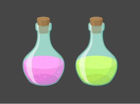 Vector magic vials with pink and green liquid, eps10 Illustration
