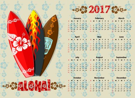 sundays: American Aloha vector calendar 2017 with surf boards, starting from Sundays Illustration