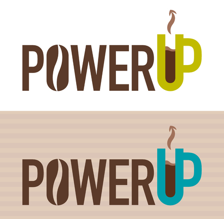 Vector illustration of Power Up concept with a cup of coffee
