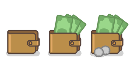 Vector set of wallet icons with banknotes and coins, money concept