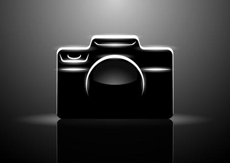 Ilustración de vector de cámara digital profesional sobre fondo negro, eps10