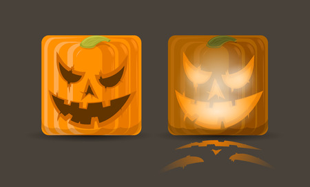 Vector illustration of two pumpkin icons, eps10  Illustration