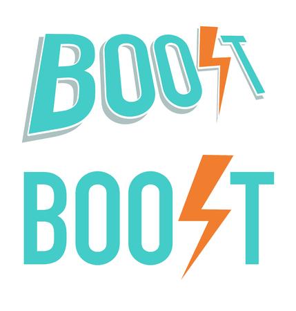 Vectorillustratie van Boost-woord in blauwe en oranje kleuren