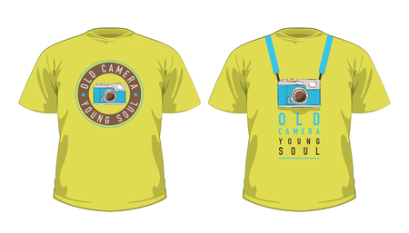 Vector set of green t-shirts with vintage photo cameras.