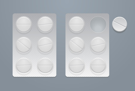 Vector round pills in two blister packs illustration. Vectores