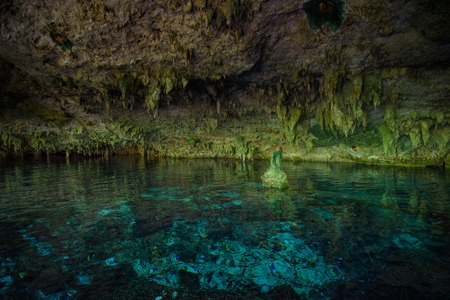 Cenote Dos Ojos with clear blue water Stock Photo