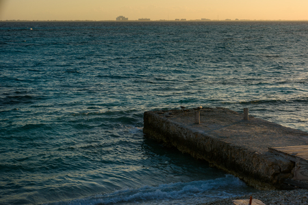 Sea pier on the island of Mujeres. Mexico. ISLA MUJERES,