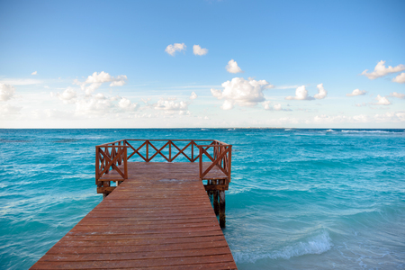 Wooden pier on the shore of the Caribbean Sea