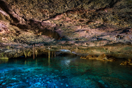 Cenote Dos Ojos with clear blue water in the cave 版權商用圖片