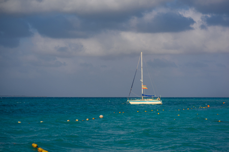 Sailboat in the sea luxury summer adventure, active vacation in Mediterranean sea. Blue water color Banque d'images