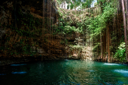 Cenote Ecoturistico Ik-Kil with blue clear water Stock fotó