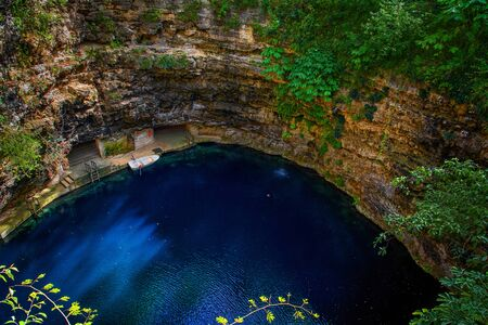Cenote Ecoturistico X-cajum with blue clear water