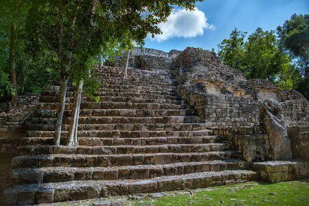 The ruins of the city of Calakmul. Maya Pyramid. Mexico.