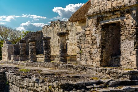 Ruins of Tulum on the Caribbean coast. Mexico. Stock Photo