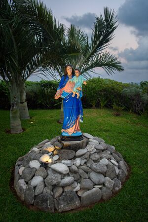 Statue of Virgin Mary with Jesus in her arms.