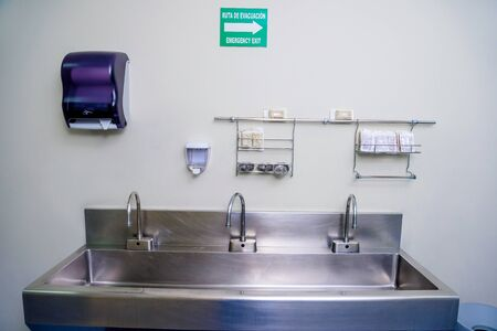 Sanitary place for washing hands in a hospital. Mexico.