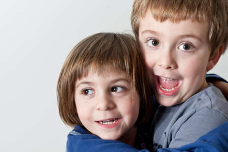 Brother and Sister Hugged photo