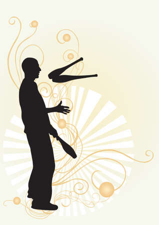 Illustration of a juggler and decorative patterns