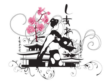 Illustration of a geisha and japanese patterns
