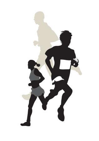 Illustrazione di tre maratoneti