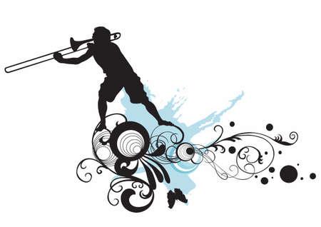 Ilustración de un hombre tocando trombón
