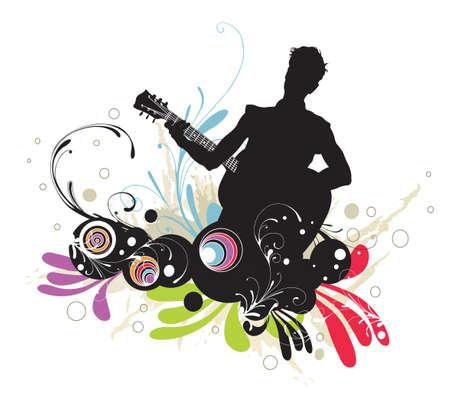 Illustration d'un guitariste et de motifs décoratifs Vecteurs