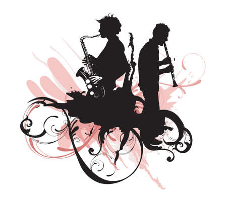 Illustration of men playing saxophone and clarinet