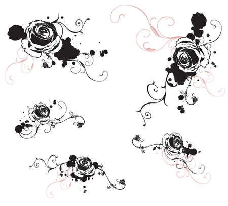 Set of design elements with roses