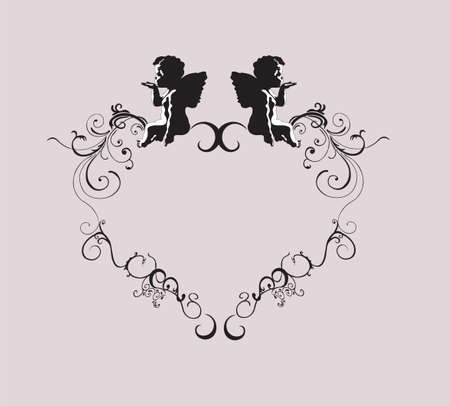 Illustrazione di una cornice retrò con gli angeli
