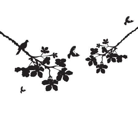 Ilustración de las ramas de los árboles y las aves